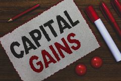 Escritura conceptual de la mano que muestra ganancias sobre el capital La acción de exhibición de las partes de los enlaces de la imágenes de archivo libres de regalías