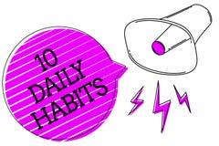 Escritura conceptual de la mano que muestra 10 hábitos diarios Nutrición de la forma de vida rutinaria sana del texto de la foto  fotos de archivo libres de regalías