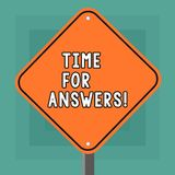 Escritura conceptual de la mano que muestra la hora para las respuestas Foto del negocio que muestra el momento correcto para dar libre illustration