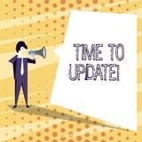 Escritura conceptual de la mano que muestra hora de ponerse al día El texto de la foto del negocio esto es momento correcto para  libre illustration
