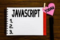 Escritura conceptual de la mano que muestra Javascript Lengua de la programación informática del texto de la foto del negocio usa foto de archivo libre de regalías