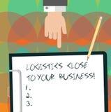 Escritura conceptual de la mano que muestra logística cerca de su negocio El texto de la foto del negocio significa del transport stock de ilustración