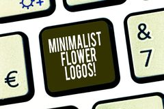 Escritura conceptual de la mano que muestra logotipos minimalistas de la flor Minimalismo de exhibición del uso de la foto del ne imagenes de archivo