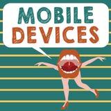 Escritura conceptual de la mano que muestra los dispositivos móviles Foto del negocio que muestra el dispositivo computacional po stock de ilustración