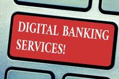 Escritura conceptual de la mano que muestra los servicios bancarios de Digitaces Numeración del texto de la foto del negocio de t imagen de archivo