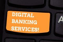 Escritura conceptual de la mano que muestra los servicios bancarios de Digitaces Numeración del texto de la foto del negocio de t imagen de archivo libre de regalías