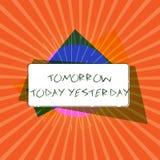 Escritura conceptual de la mano que muestra mañana hoy ayer La foto del negocio que muestra adverbios del tiempo nos dice cuando  libre illustration