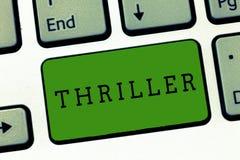 Escritura conceptual de la mano que muestra la novela de suspense Foto del negocio que muestra el juego o la película nuevo con e imágenes de archivo libres de regalías