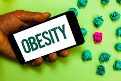 Escritura conceptual de la mano que muestra obesidad El exceso de la dolencia del texto de la foto del negocio de grasas de cuerp Imagenes de archivo