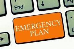 Escritura conceptual de la mano que muestra plan de emergencia Los procedimientos del texto de la foto del negocio para la respue fotos de archivo