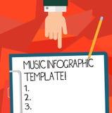Escritura conceptual de la mano que muestra la plantilla de Infographic de la música Representación de exhibición de la foto del  libre illustration