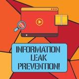 Escritura conceptual de la mano que muestra la prevención del escape de la información Información crítica de inhibición de exhib stock de ilustración