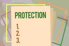 Escritura conceptual de la mano que muestra la protección El estado del texto de la foto del negocio de la protección guardado co ilustración del vector