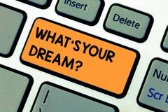 Escritura conceptual de la mano que muestra a qué S su sueño El texto de la foto del negocio nos dice la motivación demonstrating fotografía de archivo