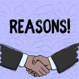 Escritura conceptual de la mano que muestra razones El texto de la foto del negocio causa las justificaciones de las explicacione libre illustration