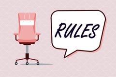 Escritura conceptual de la mano que muestra reglas Autoridad del poder del ejercicio del texto de la foto del negocio última sobr stock de ilustración