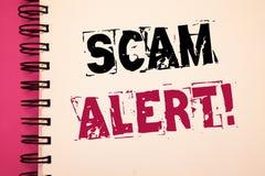 Escritura conceptual de la mano que muestra a Scam llamada de motivación alerta Fotos del negocio que muestran la advertencia de  Fotos de archivo libres de regalías