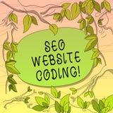 Escritura conceptual de la mano que muestra a Seo Website Coding La exhibición de la foto del negocio crea el sitio en manera par stock de ilustración
