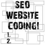 Escritura conceptual de la mano que muestra a Seo Website Coding Texto de la foto del negocio crear el sitio en manera para hacer stock de ilustración