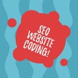 Escritura conceptual de la mano que muestra a Seo Website Coding Texto de la foto del negocio crear el sitio en manera para hacer ilustración del vector