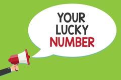 Escritura conceptual de la mano que muestra a su Lucky Number Texto de la foto del negocio que cree en alarmar del casino de la o stock de ilustración