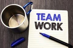Escritura conceptual de la mano que muestra a Team Work Unidad de exhibición Collaborati del logro del trabajo de grupo de la coo imágenes de archivo libres de regalías