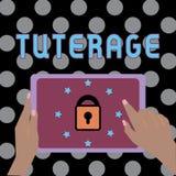 Escritura conceptual de la mano que muestra Tuterage Protección del texto de la foto del negocio de o autoridad sobre alguien o a stock de ilustración