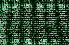 Escritura de código programado en el ordenador portátil Datos binarios de Digitaces sobre la pantalla de ordenador fotografía de archivo libre de regalías