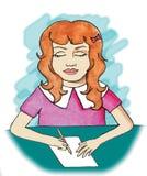 Escritura de la chica joven Imagen de archivo libre de regalías