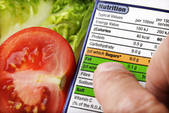 Escritura de la etiqueta alimenticia Imagen de archivo libre de regalías