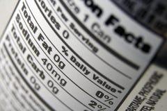 Escritura de la etiqueta alimenticia de los hechos Imagen de archivo libre de regalías