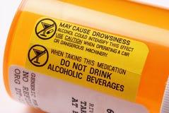 Escritura de la etiqueta amonestadora - alcohol Imagen de archivo libre de regalías