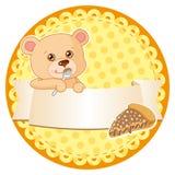Escritura de la etiqueta con el oso de peluche Imagen de archivo libre de regalías