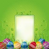 Escritura de la etiqueta con los huevos de Pascua, vector Foto de archivo libre de regalías