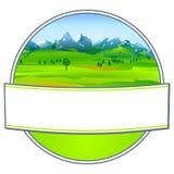Escritura de la etiqueta con paisaje Fotos de archivo libres de regalías