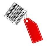 Escritura de la etiqueta de Blanc con el código de barras Fotografía de archivo libre de regalías