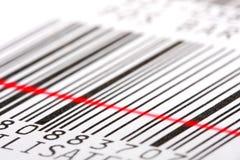 Escritura de la etiqueta de código de barras. Fotografía de archivo libre de regalías
