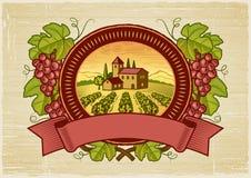 Escritura de la etiqueta de la cosecha de las uvas Foto de archivo libre de regalías