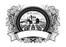 Escritura de la etiqueta de la cosecha de las uvas blanco y negro Foto de archivo libre de regalías