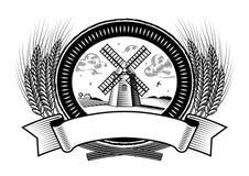 Escritura de la etiqueta de la cosecha del cereal blanco y negro ilustración del vector