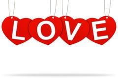 Escritura de la etiqueta de la etiqueta de la tarjeta del día de San Valentín del corazón Fotografía de archivo