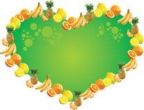 Escritura de la etiqueta de la fruta tropical - corazón Foto de archivo libre de regalías