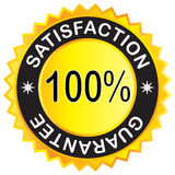 Escritura de la etiqueta de la garantía de la satisfacción Foto de archivo libre de regalías