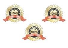 Escritura de la etiqueta de la garantía de la satisfacción, roja Fotografía de archivo libre de regalías