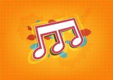 Escritura de la etiqueta de la nota de la melodía con la pintura de la tinta Foto de archivo libre de regalías