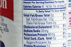 Escritura de la etiqueta de la nutrición Imagen de archivo libre de regalías