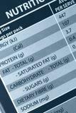 Escritura de la etiqueta de la nutrición Imagen de archivo