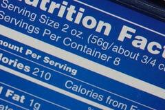 Escritura de la etiqueta de la nutrición Foto de archivo libre de regalías