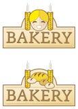 Escritura de la etiqueta de la panadería con la muchacha Fotografía de archivo