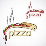 Escritura de la etiqueta de la pizza Fotos de archivo